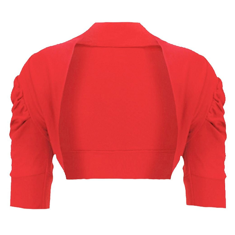 Noroze Girls Kids Plain Ruched Sleeves Bolero Shrug Cardigans Age 3-13 Years