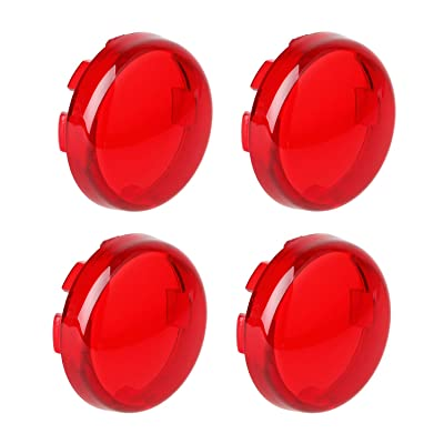 NTHREEAUTO Bullet Red Turn Signal Light Lens Cover Compatible with Halry Dyna Street Glide Road King Heritage Softail: Automotive
