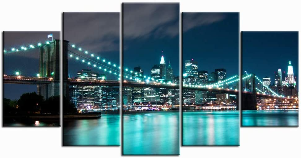 Nachic Wall 5 Piece New York Wall Art Blue Brooklyn Bridge Night View Pictures Canvas Prints for Home Living Room Decor NYC Artwork Framed Ready to Hang