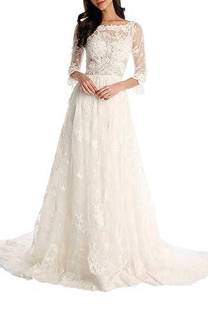 af0b28222 Peprom Ivory Lace 3/4 Sleeve Bohemian Beach Wedding Dresses at Amazon  Women's Clothing store: