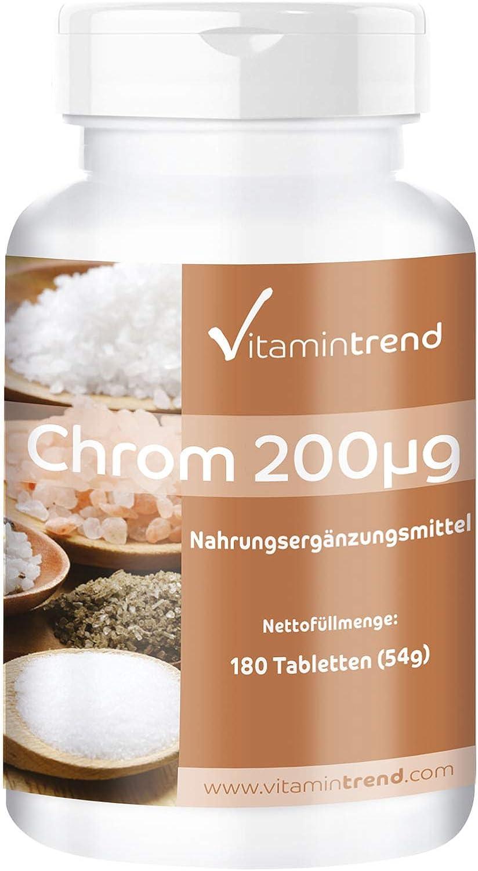 Cromo 200mcg – 180 comprimidos para ¡¡6 MESES!! – Picolinato de cromo – Sin estearato de magnesio – Mejora la síntesis de proteínas