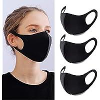 YMHPRIDE 3-pack anti-stof gezichtsmasker mond zwart gezichtsmasker wasbaar, herbruikbare maskers voor dames en heren