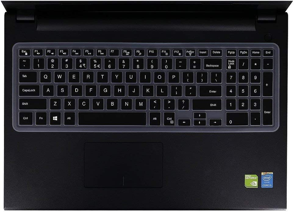 Black with Clear Saco Chiclet Keyboard Skin for Dell Inspiron 3543 Touchscreen 15.6 inch Laptop