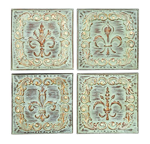 Benzara Metal Wall Décor, 16 by 16-Inch, Assorted (Pack of 4)