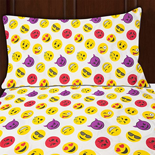 Sutton Home Fashions (3 Piece) Emoji Bed Sheet Set Twin Size Microfiber Bedding Flat Fitted Pillowcase (Twin Comforter Sets For Bunk Beds)