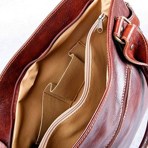 Comprar Barato Footaction MICHELANGELO Fatto a mano in Vera Pelle Italia - Borsa Shopping in Pelle 36x12 H28 cm (NERO) Marrone Profesional De Salida R9tnj7