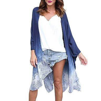 481e39bd870 Sixcup Women Totem Chiffon Gradient Color Irregular Long Sleeve Wrap Kimono  Cardigans Coat Tops Outwear Blouse