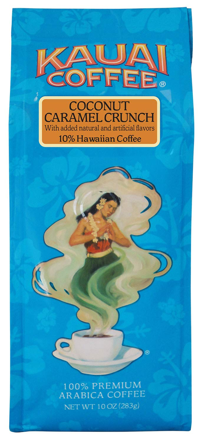 Kauai Hawaiian Ground Coffee, Coconut Caramel Crunch Flavor (10 oz Bag) - 100% Premium Gourmet Arabica Coffee from Hawaii's Largest Coffee Grower - Bold, Rich Blend