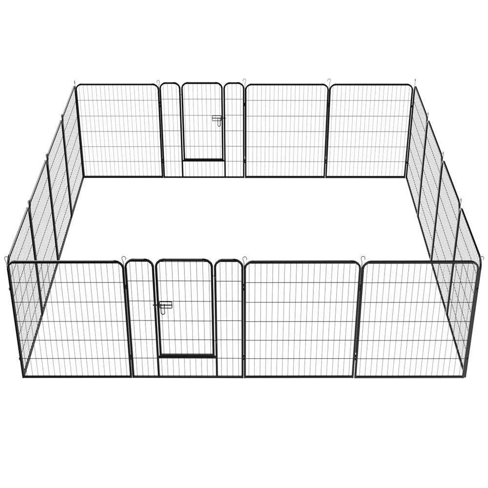 Topeakmart 16 Panel 40'' Dog playpen - Heavy Duty Portable Metal Pets Playpen Foldable Dog Exercise Pen Barrier Kennel Puppy Fence w/ 2 pcs Door Outdoor Indoor Black
