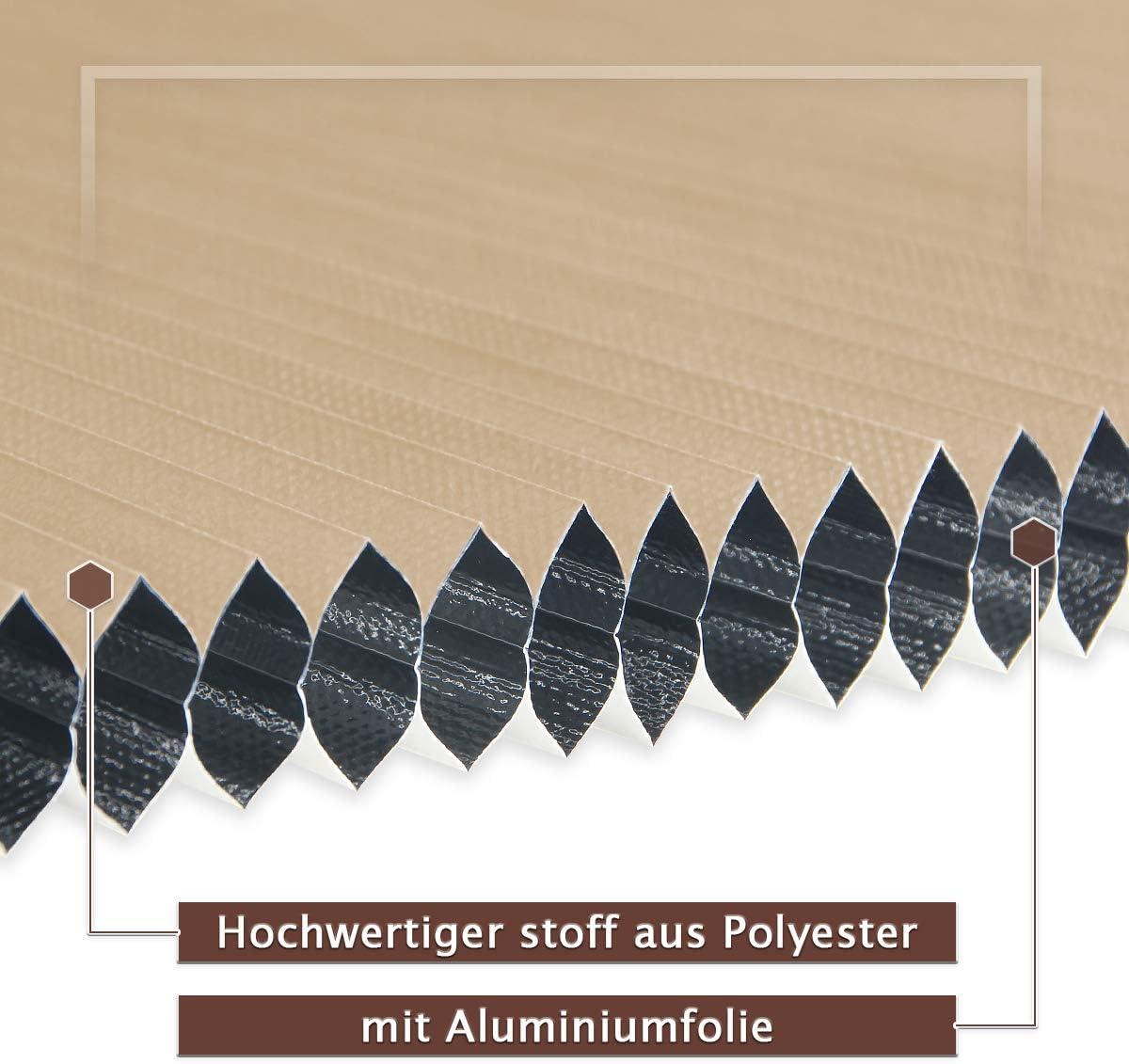 Sonnen- Doppelseitig Zweifarbig Wei/ß-Beige 80x130cm Kein Geruch Waben Plisseerollo f/ür Fenster /& T/ür Sicht- /& Schallschutz W/ärmeisolierung Atlaz Wabenplissee Klemmfix Thermo 100/% Verdunklung