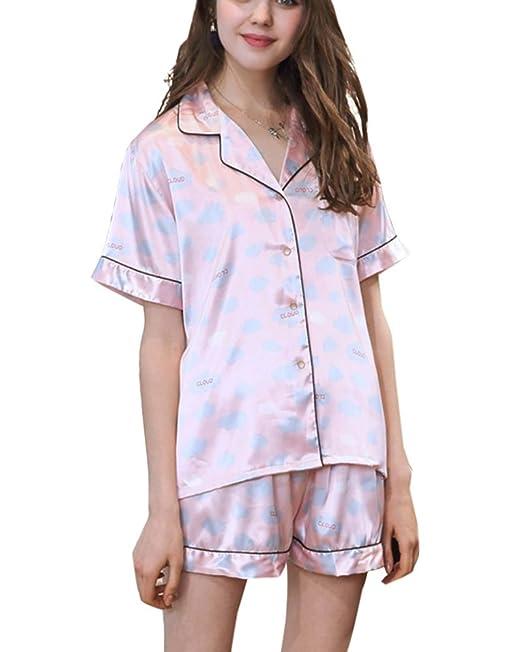 Aden Pijama Mujer Verano Corto Manga Conjunto De Pijamas 2 Piezas Ropa De Dormir Camisón: Amazon.es: Ropa y accesorios