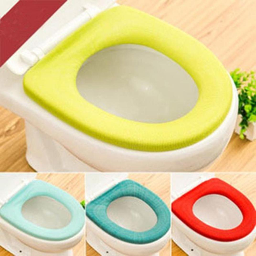 Iuhan 2Pcs Bathroom Toilet Seat Closestool Washable Soft Warmer Mat Cover Pad Cushion❤️Random Color❤️ (2) by Iuhan (Image #1)