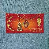 AmaPark quick dry towel christian christmas scene on red background illustration Lightweight, High Absorbency L35.4 x W11.8 INCH