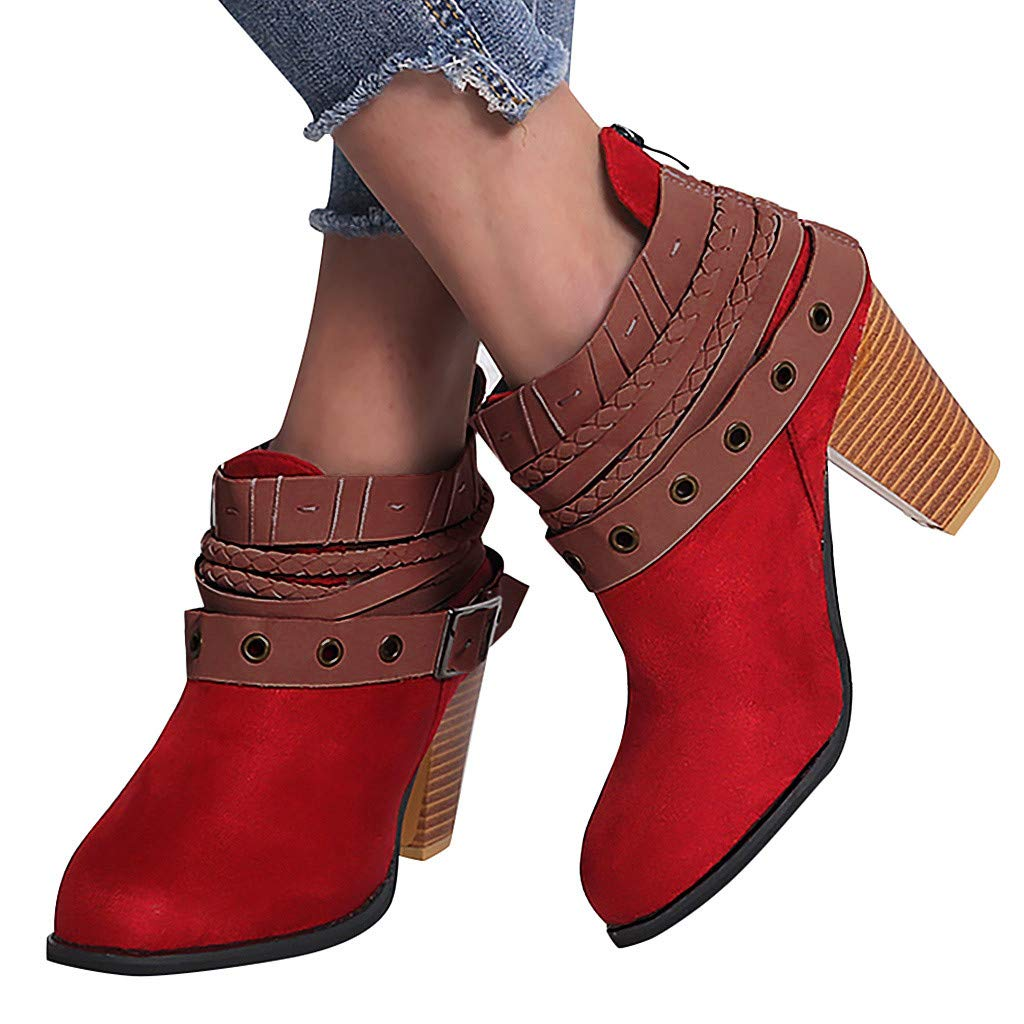 Women's Ankle Buckle Booties - Classic Wrap Straps Chunky Block Low Stacked Heel Suede Comfy Boots (US:6.5, Red)