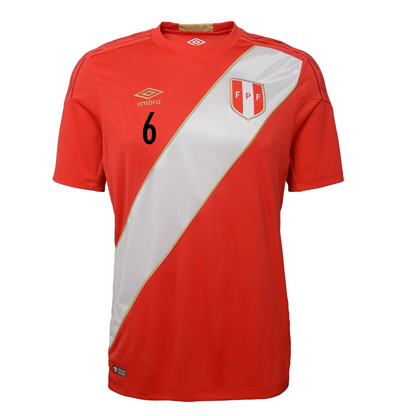 f5f8ca795bb Amazon.com  Umbro TRAUCO  6 Peru Away Soccer Jersey World Cup Russia 2018   Clothing