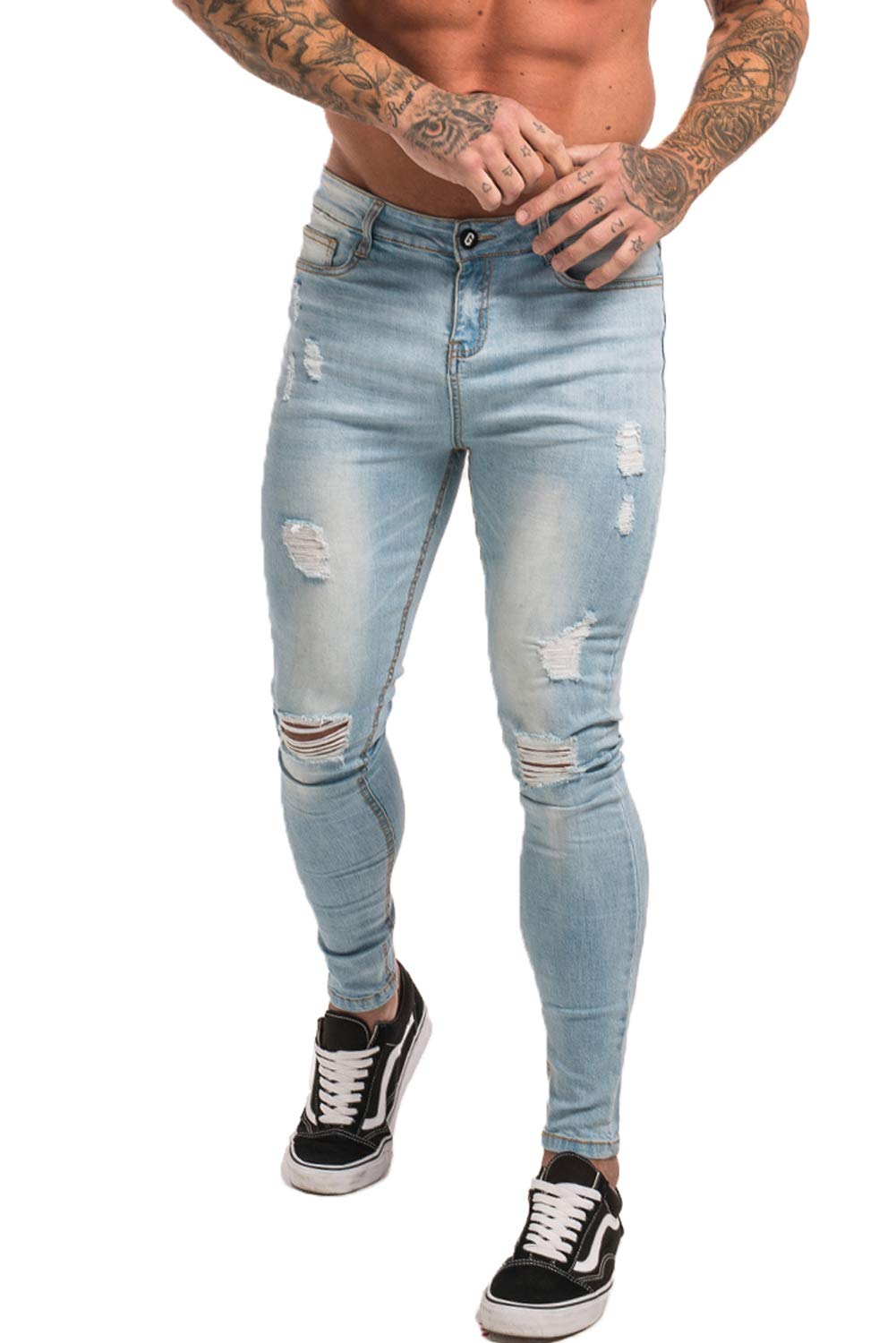 173825877cb GINGTTO Skinny Jeans for Men Stretch Slim Fit Ripped Distressed 30 Ice Blue  Repaired