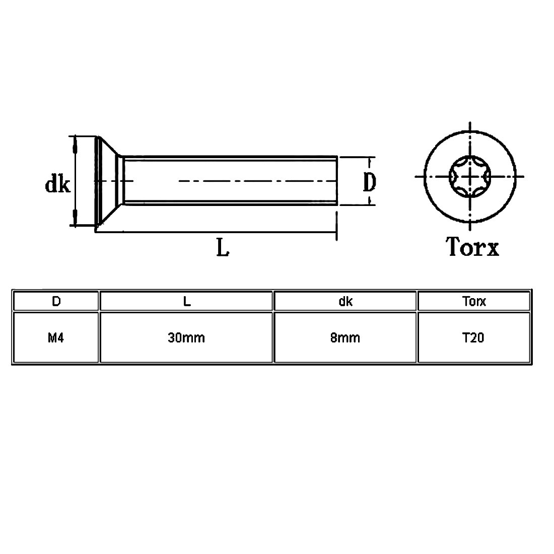 sourcingmap/® M4x30mm de acero inoxidable 304 de cabeza plana de seguridad Torx tornillos antirrobo 10pcs