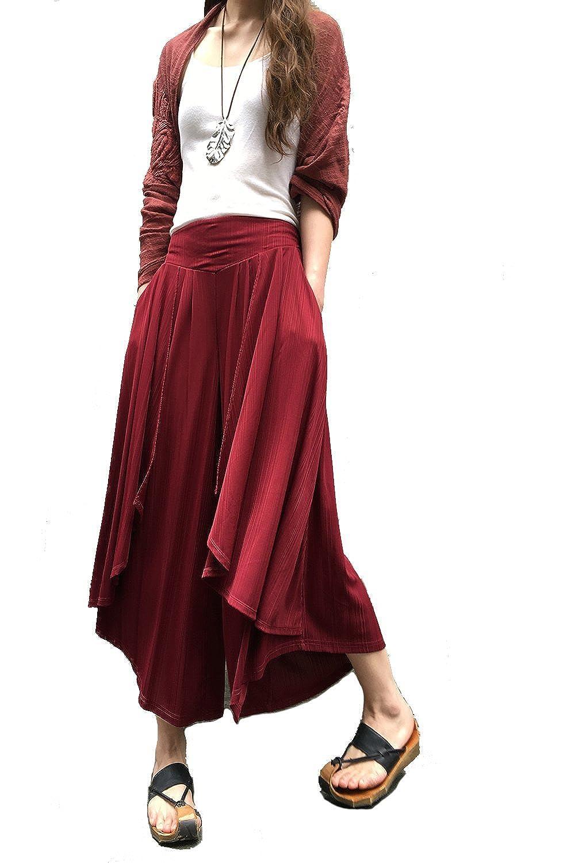"Idea2lifestyle Women's Pleated Skirt Pants ""Moon Water"" Wine Red"