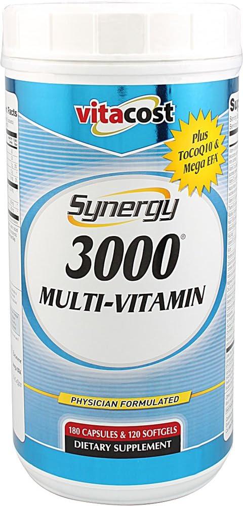 Vitacost Synergy 3000 Multi-Vitamin ToCoQ10 Mega EFA — 180 Capsules 120 Softgels