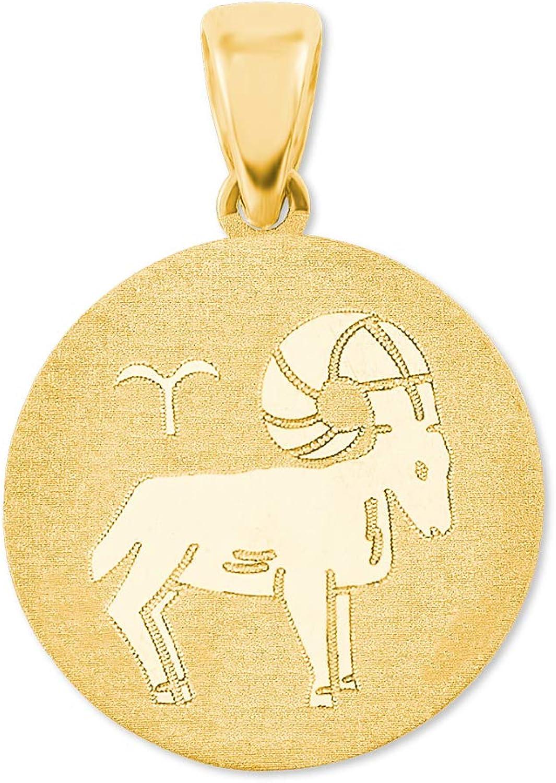 amor Anh/änger Unisex Sternzeichen Widder rund 375 Gold teilmattiert