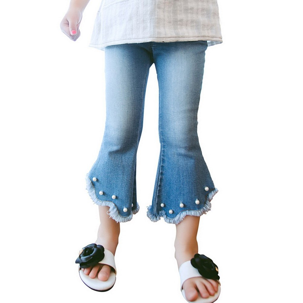 5af92c1cb8 Amazon.com: Vokamara Toddler Girl Pull On Pearls Ripped Flare Jeans ...