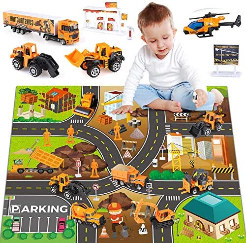 27 in 1 Kids Construction Vehicles Truck Cars Toys with Play Mat,Mini Engineering Diecast Pull Back Cars Alloy Truck Playset and 12 Road Signs for Boy Toddlers Birthday Christmas Party Gift Age 3+
