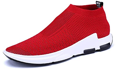 8f96cf51f JiYe Men's Running Shoes Sock-Like Free Transform Flyknit Sport Fashion  Sneakers, Red,