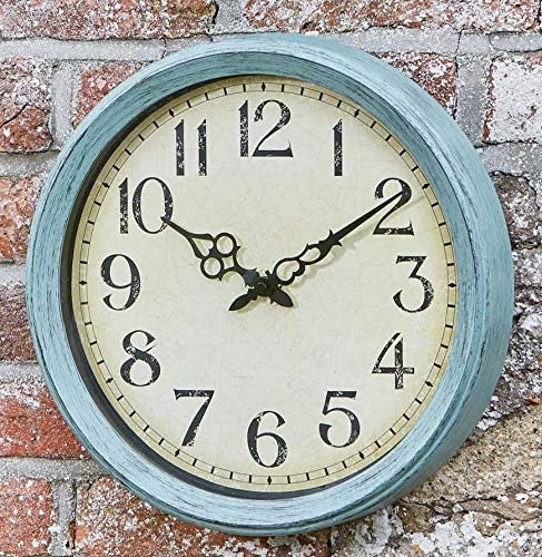 14 Indoor Outdoor Weatherproof Outside in Stonegate Wall Clock and Thermometer in Dark Stone Effect 35cm