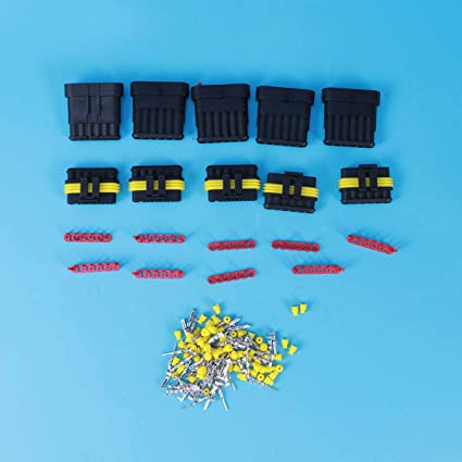 Vosarea 5 Kit 6 Pins Waterproof Electrical Connector Automotive Wire Connector Car Motorcycle Plug HID Plug Terminals Heat Shrink