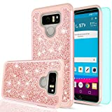 verizon lg cell phone case - LG G6 Case,LG G6 Plus Glitter Case with HD Screen Protector for Girls Women, LeYi Cute Bling Heavy Duty Protective Phone Case Cover for LG G6 / G6 Plus (Released by Verizon,AT&T,T-Mobile) TP Rose Gold
