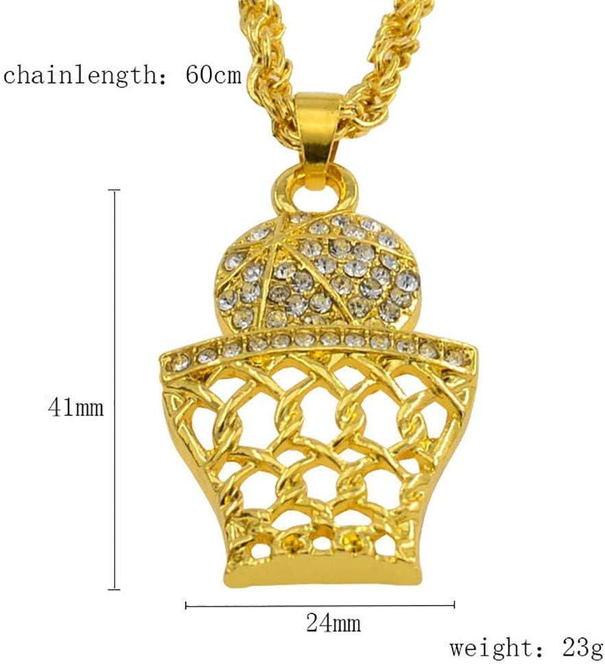 Hip Hop Basketball Number 23 Rhinestone Gold Tone Pendant Necklace For Men Women