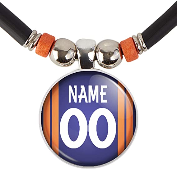 New England Football Jersey Pin back Button Necklace Personalized with Your Name and Number
