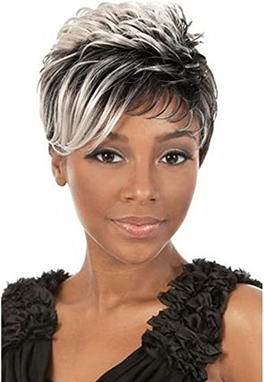 Amazon Com Newpeck Black Women Short Hair Girls Curly Cosplay Wig Mixed Black And White Hair Wig Clothing