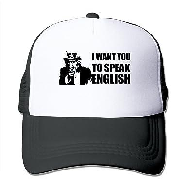 Amazon.com  Design Speak English Funny Political Baseball Caps  Clothing f7a74cf48fc