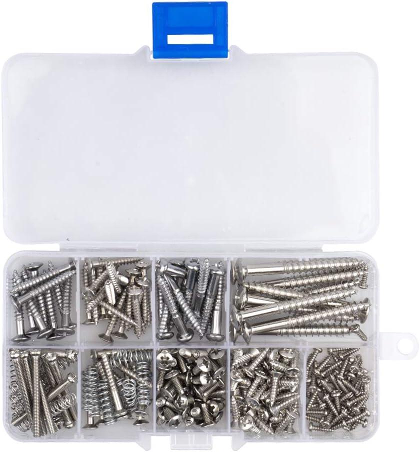Novelfun - Juego de tornillos y muelles para puente, pastilla, golpeador, afinador, interruptor y placa de mástil para guitarra, 204 unidades, 9 tipos, cromo