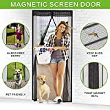 Magnetic Screen Door, Vdealen Door Mesh Fly Mosquito Curtain with Magnets & Full Frame Velcro,Fit Door Size 38'' X 82'',Full Frame Hook & Loop, Hands Free, Pet Friendly