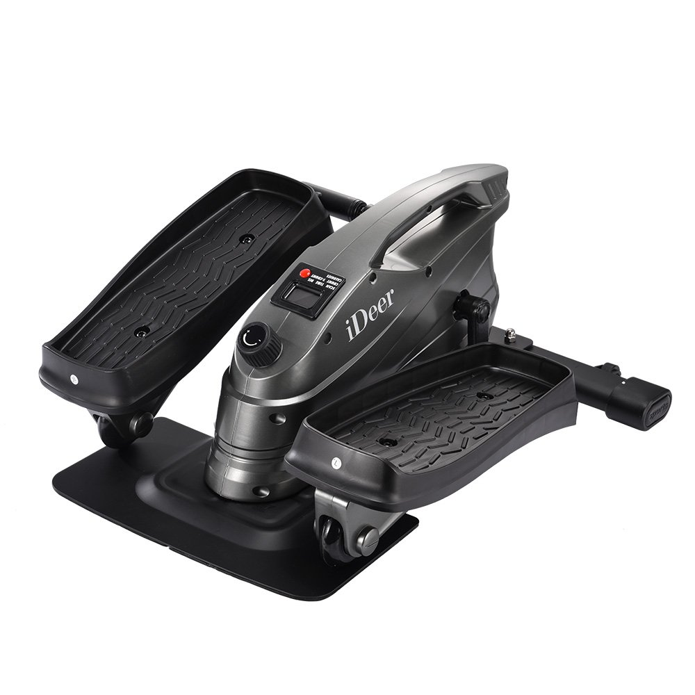 IDEER LIFE Under Desk&Stand Up Exercise Bike,Mini Elliptical Trainers Stepper Pedal w/Adjustable Resistance and LCD Display,Fitness Exercise Peddler for Home&Office Workout (Metallic Grey) by IDEER LIFE