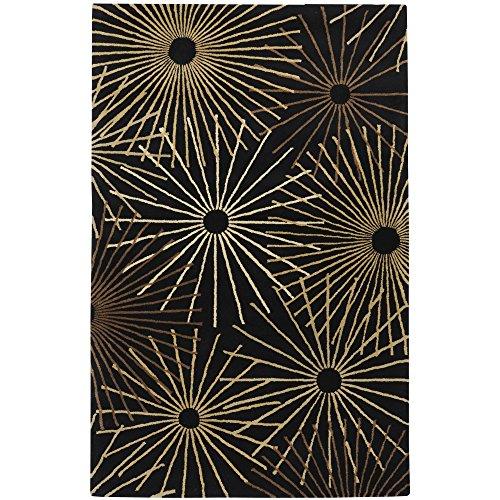 Surya Forum FM-7090 Contemporary Hand Tufted 100% Wool Coal Black 8' x 10' Kidney Geometric Area Rug - 10' Kidney Area Rug