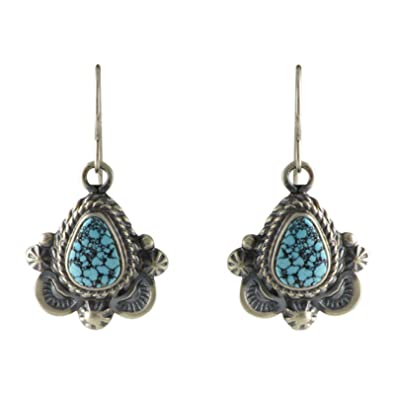 875a98501 Image Unavailable. Image not available for. Color: Emma Mae Lincoln  Sterling Silver Kingman Spiderweb Turquoise Earrings Navajo