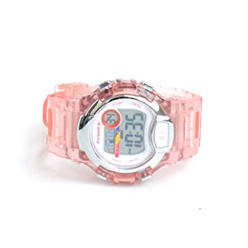 Pasnew 170G - Reloj digital para niños (sumergible hasta 30 m, correa transparente) pink transparent Talla:37 x 14 mm: Amazon.es: Relojes