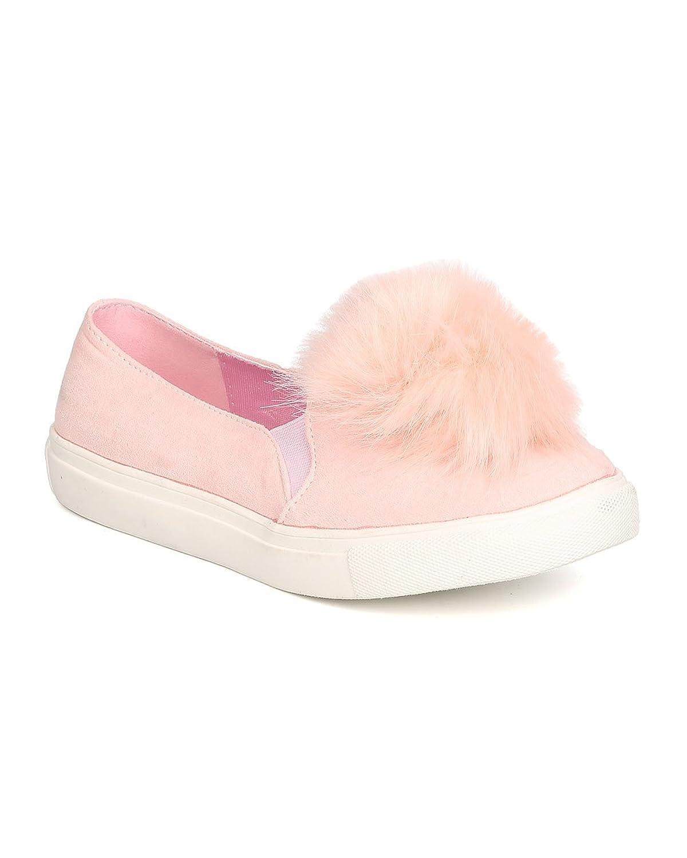 Liliana Women Pom Pom Slip on Sneaker - Casual, Trendy, Everyday - Furry Flat - GD24 by