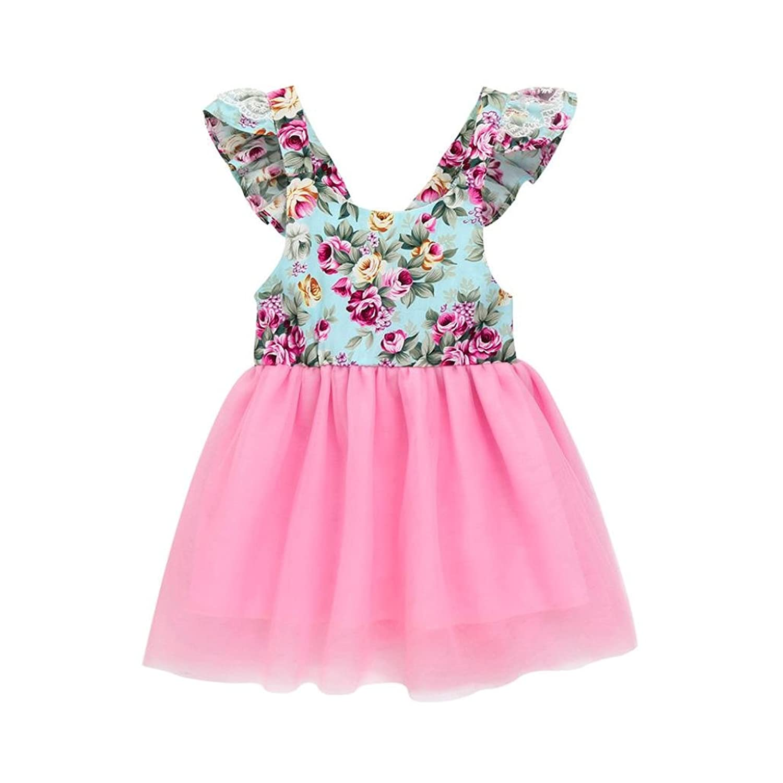 9cd83dfab Zolimx Ropa Bebe Niñas Baby Girls Vestido Floral Recién Nacido Fiesta  Vestido de Encaje Tutú Vestido
