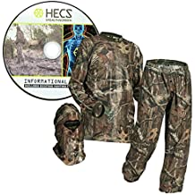 HECS Suit Turkey Hunting Clothing with Human Energy Concealment Technology - Camo 3 Piece Shirt, Pants, Headcover - Lightweight Breathable in Mossy Oak Country & Realtree Xtra