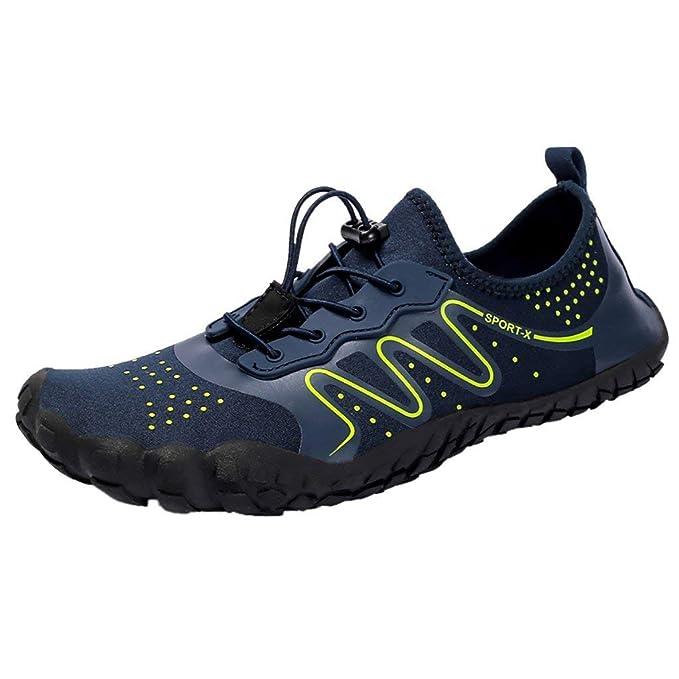 POLP Zapatos de Agua de Playa Deportivos Natacion Mujer Hombre Estampado Chanclas con Cordones Deportes Aire Libre Calzado de Deportes acuáticos de Ocio ...
