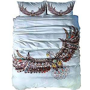 Golden Eagle Bedding Set King Size Boys Luxury Dreamcatcher Print 3D Duvet Animal Bohemian Bed Cover (eagle, 3pcs us queen)