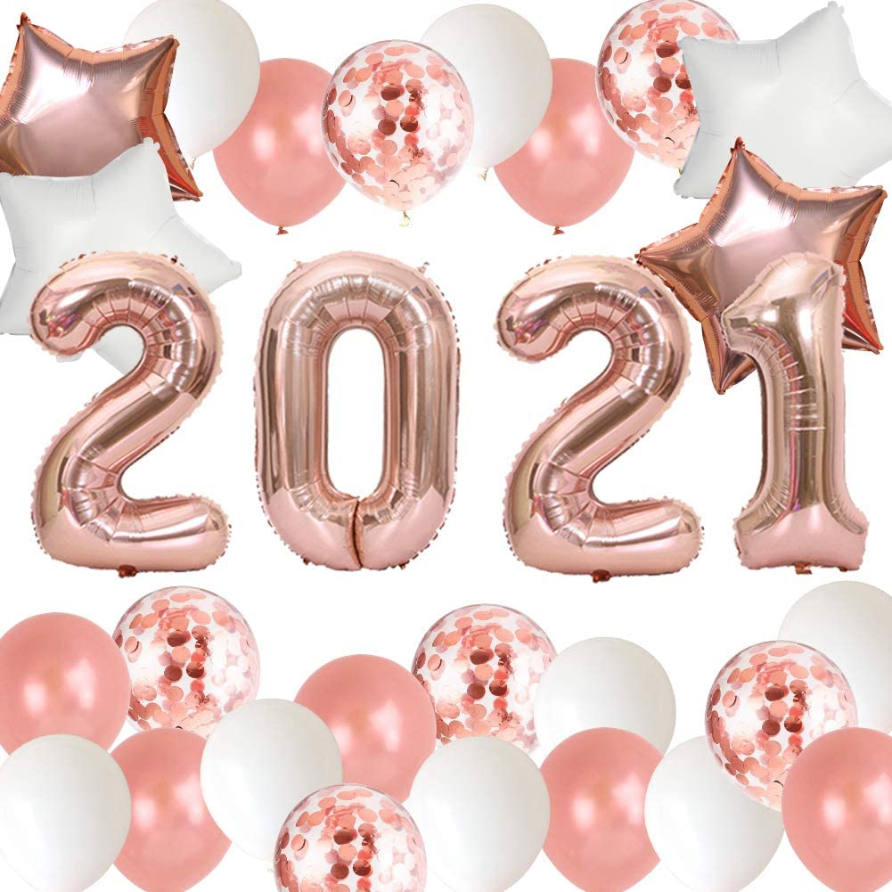 2021 Balloons, New Years Eve Party Decorations, Graduations Party Supplies, 40 Inch Rose Gold 2021 Foil Number Balloons Star Foil Balloons Latex Balloons for Birthday Anniversary Class of Prom Party
