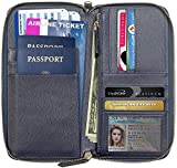 Travel Document Holder, Travel Wallet (up to 4 Passports), RIFD-Blocking Travel Document Organizer with Zipper & Strap, Safe, Lightweight Multi-Purpose Clutch by Apadi