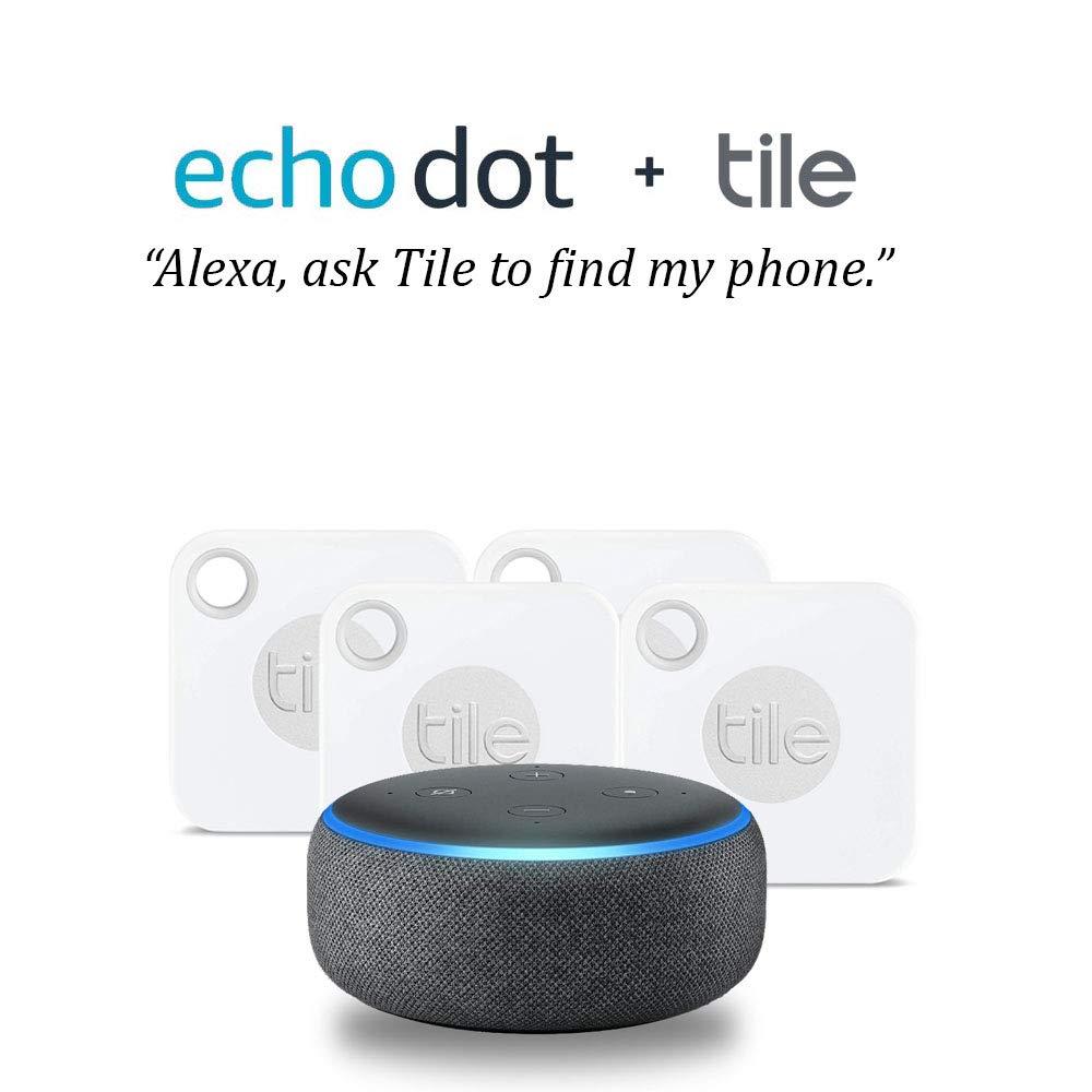 Amazon Echo Dot with Tile Mate...