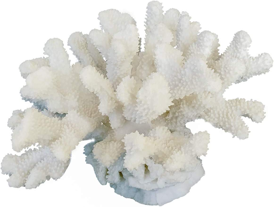HENGYUTOYMASK Decorative Coral Sculpture,10.25 Inch, Resin Coral Figurine Centralpiece Tabletop Ornament Aquarium Décor White