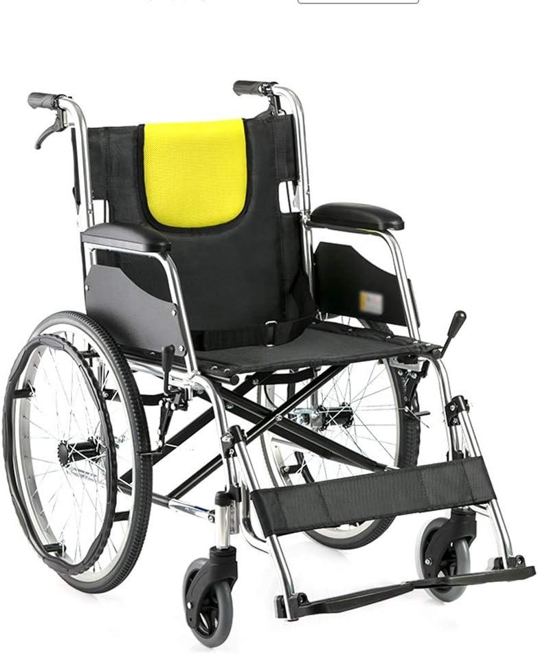 Teng Peng Silla de ruedas, silla de ruedas de transporte plegable ligera, resistente y duradera, manual médico de conducción de aleación de aluminio ultraligero for adultos mayores, rueda trasera de 2
